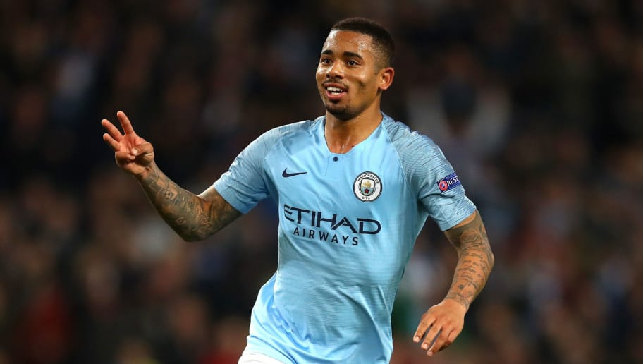 MANCHESTER, ENGLAND - NOVEMBER 07:  Gabriel Jesus of Manchester City celebrates after scoring his team's sixth and his hatrick goal during the Group F match of the UEFA Champions League between Manchester City and FC Shakhtar Donetsk at Etihad Stadium on November 7, 2018 in Manchester, United Kingdom.  (Photo by Clive Brunskill/Getty Images)