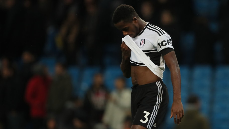 MANCHESTER, ENGLAND - NOVEMBER 01: A dejected Ryan Sessegnon of Fulham at full time of the Carabao Cup Fourth Round match between Manchester City and Fulham at Etihad Stadium on November 1, 2018 in Manchester, England. (Photo by Matthew Ashton - AMA/Getty Images)