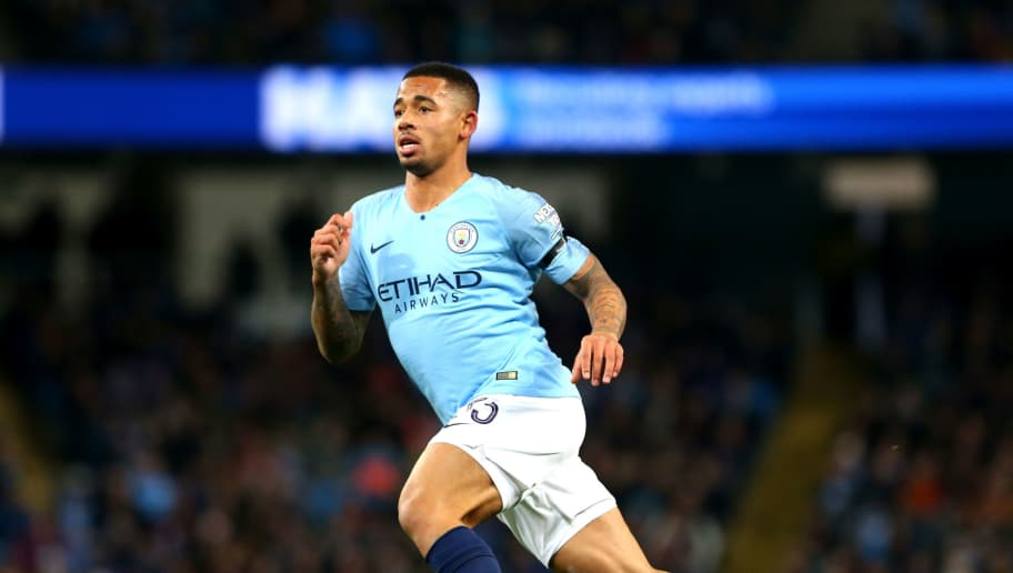 MANCHESTER, ENGLAND - NOVEMBER 01: Gabriel Jesus of Manchester City in action during the Carabao Cup Fourth Round match between Manchester City and Fulham at Etihad Stadium on November 1, 2018 in Manchester, England. (Photo by Chloe Knott - Danehouse/Getty Images)