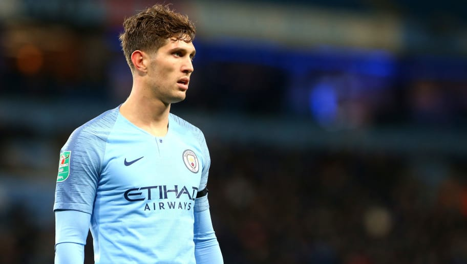 MANCHESTER, ENGLAND - NOVEMBER 01: John Stones of Manchester City in action during the Carabao Cup Fourth Round match between Manchester City and Fulham at Etihad Stadium on November 1, 2018 in Manchester, England. (Photo by Chloe Knott - Danehouse/Getty Images)