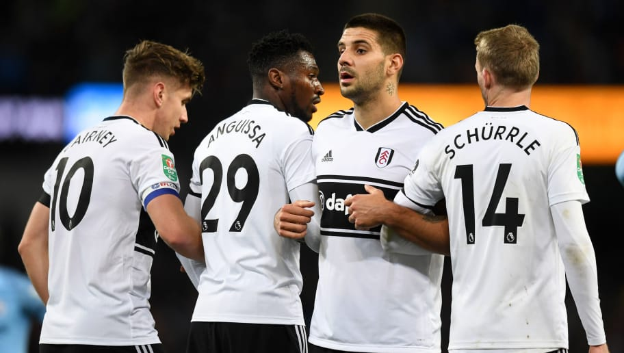 MANCHESTER, ENGLAND - NOVEMBER 01:  Aleksandar Mitrovic of Fulham looks on as the Fulham players form a wall during the Carabao Cup Fourth Round match between Manchester City and Fulham at Etihad Stadium on November 1, 2018 in Manchester, England.  (Photo by Michael Regan/Getty Images)