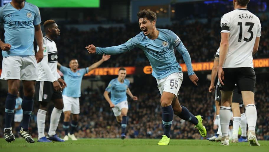 MANCHESTER, ENGLAND - NOVEMBER 01: Brahim Diaz of Manchester City celebrates after scoring a goal to make it 1-0 during the Carabao Cup Fourth Round match between Manchester City and Fulham at Etihad Stadium on November 1, 2018 in Manchester, England. (Photo by Matthew Ashton - AMA/Getty Images)