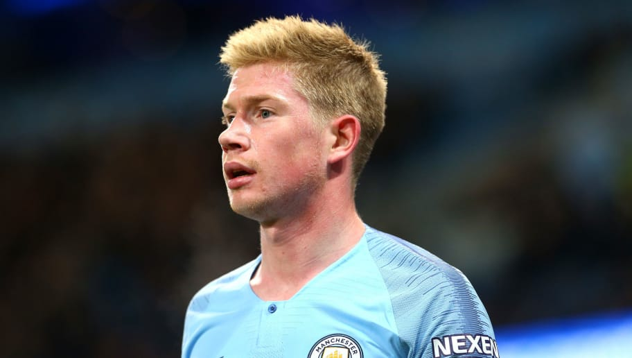 MANCHESTER, ENGLAND - NOVEMBER 01: Kevin De Bruyne of Manchester City in action during the Carabao Cup Fourth Round match between Manchester City and Fulham at Etihad Stadium on November 1, 2018 in Manchester, England. (Photo by Chloe Knott - Danehouse/Getty Images)