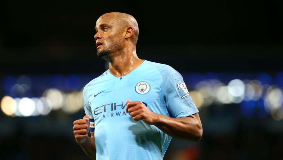 MANCHESTER, ENGLAND - NOVEMBER 01: Vincent Kompany of Manchester City in action during the Carabao Cup Fourth Round match between Manchester City and Fulham at Etihad Stadium on November 1, 2018 in Manchester, England. (Photo by Chloe Knott - Danehouse/Getty Images)