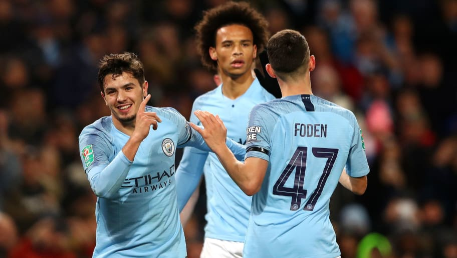 MANCHESTER, ENGLAND - NOVEMBER 01:  Brahim Diaz of Manchester City celebrates with teammates after scoring his team's second goal during the Carabao Cup Fourth Round match between Manchester City and Fulham at Etihad Stadium on November 1, 2018 in Manchester, England.  (Photo by Matthew Lewis/Getty Images)
