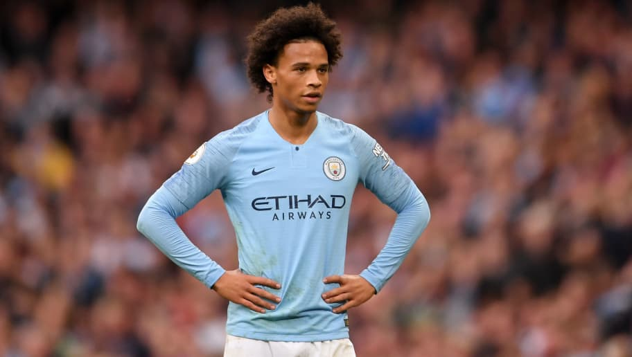MANCHESTER, ENGLAND - SEPTEMBER 15: Leroy Sane of Manchester City looks on during the Premier League match between Manchester City and Fulham FC at Etihad Stadium on September 15, 2018 in Manchester, United Kingdom. (Photo by Laurence Griffiths/Getty Images)