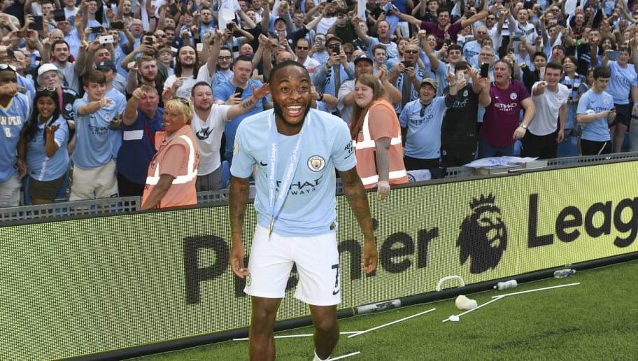 MANCHESTER, ENGLAND - MAY 06:  Raheem Sterling of Manchester City looks on after the Premier League match between Manchester City and Huddersfield Town at Etihad Stadium on May 6, 2018 in Manchester, England.  (Photo by Michael Regan/Getty Images)