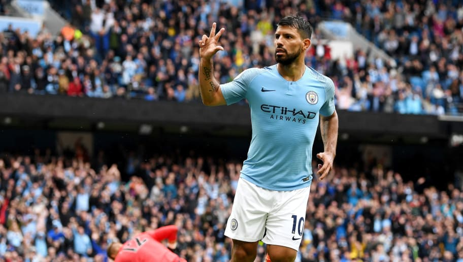 MANCHESTER, ENGLAND - AUGUST 19:  Sergio Aguero of Manchester City celebrates after scoring his team's fifth goal during the Premier League match between Manchester City and Huddersfield Town at Etihad Stadium on August 19, 2018 in Manchester, United Kingdom.  (Photo by Michael Regan/Getty Images)