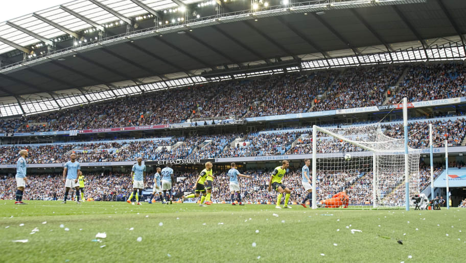 MANCHESTER, ENGLAND - AUGUST 19:  GOAL!! Jon Stankovi of Huddersfield Town scores during the Premier League match between Manchester City and Huddersfield Town at Etihad Stadium on August 19, 2018 in Manchester, United Kingdom. (Photo by John Early/Getty Images)