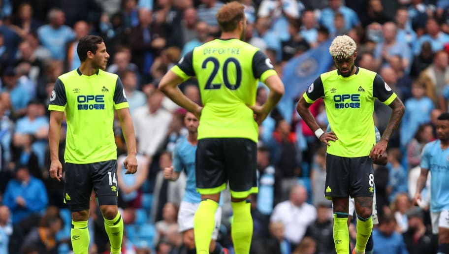 MANCHESTER, ENGLAND - AUGUST 19: A dejected Philip Billing of Huddersfield Town after conceding a goal to make it 6-1 during the Premier League match between Manchester City and Huddersfield Town at Etihad Stadium on August 19, 2018 in Manchester, United Kingdom. (Photo by Robbie Jay Barratt - AMA/Getty Images)