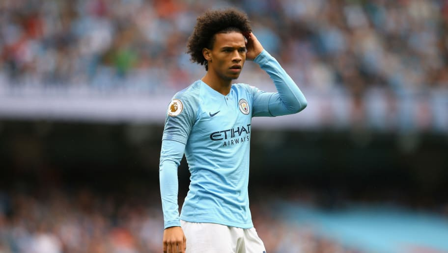MANCHESTER, ENGLAND - AUGUST 19:  Leroy Sane of Manchester City looks on during the Premier League match between Manchester City and Huddersfield Town at Etihad Stadium on August 19, 2018 in Manchester, United Kingdom.  (Photo by Alex Livesey/Getty Images)