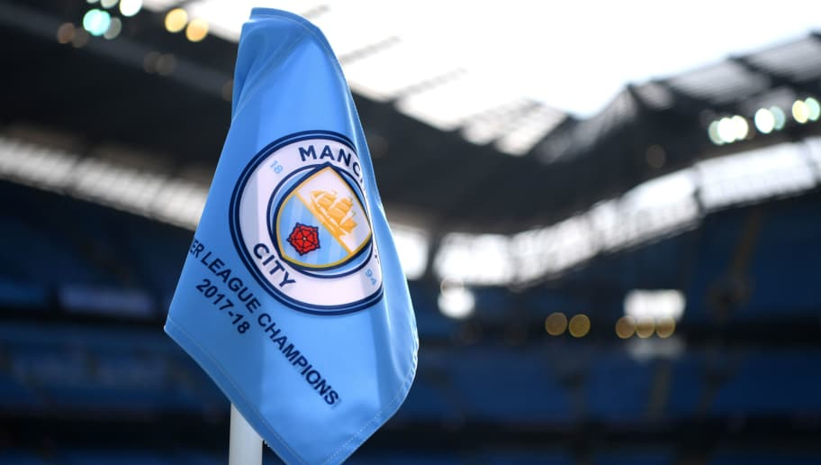 MANCHESTER, ENGLAND - MAY 06:  A detailed view of a corner flag during the Premier League match between Manchester City and Huddersfield Town at Etihad Stadium on May 6, 2018 in Manchester, England.  (Photo by Shaun Botterill/Getty Images)