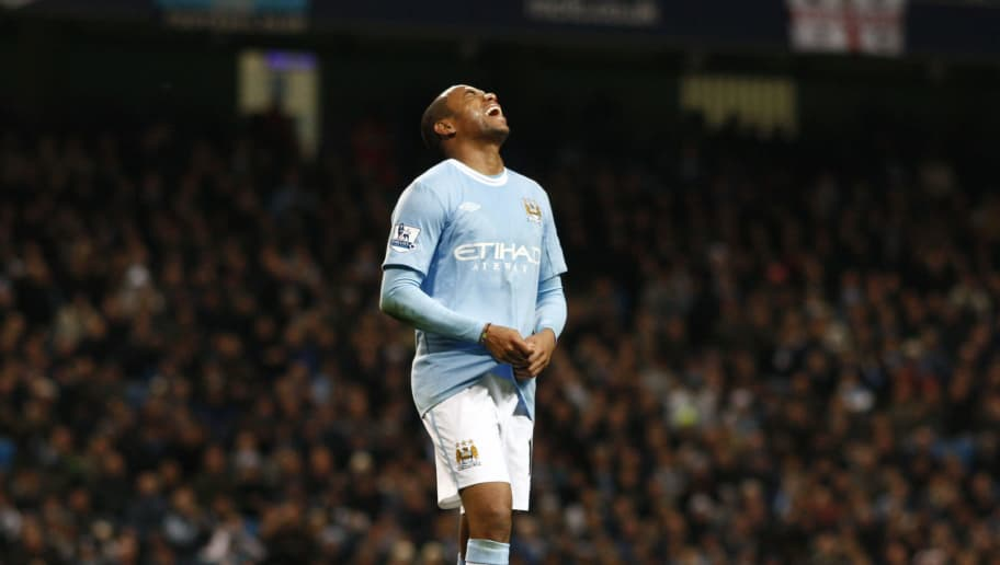 MANCHESTER, ENGLAND - NOVEMBER 28: Robinho of Manchester City shouts after missing a golden chance on goal during the Barclays Premier League match between Manchester City and Hull City at the City of Manchester Stadium on November 28, 2009 in Manchester, England. (Photo by Jed Leicester/Getty Images)