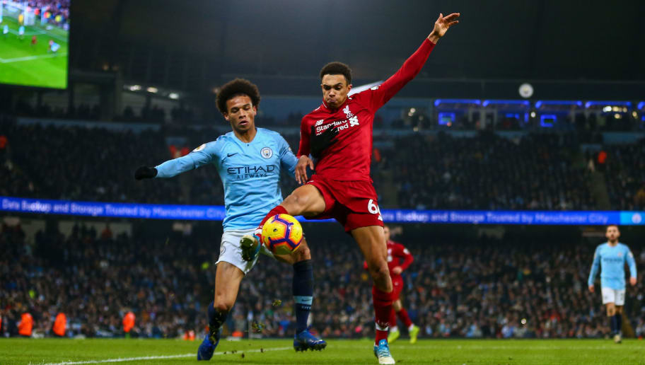 MANCHESTER, ENGLAND - JANUARY 03: Leroy Sane of Manchester City and Trent Alexander-Arnold of Liverpool during the Premier League match between Manchester City and Liverpool FC at Etihad Stadium on January 3, 2019 in Manchester, United Kingdom. (Photo by Robbie Jay Barratt - AMA/Getty Images)