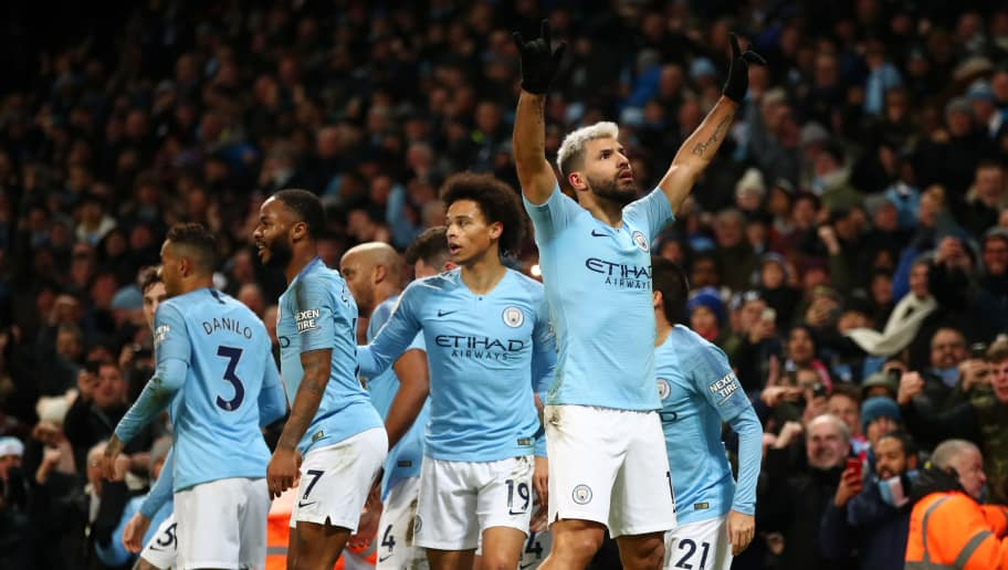 MANCHESTER, ENGLAND - JANUARY 03: Sergio Aguero of Manchester City celebrates after scoring his team's first goal during the Premier League match between Manchester City and Liverpool FC at the Etihad Stadium on January 3, 2019 in Manchester, United Kingdom.  (Photo by Clive Brunskill/Getty Images)