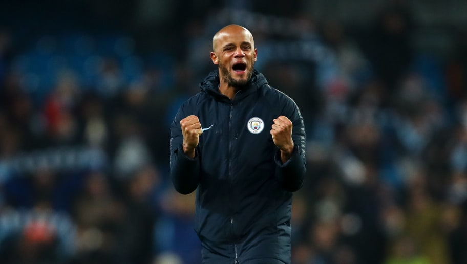 MANCHESTER, ENGLAND - JANUARY 03: Vincent Kompany of Manchester City celebrates at full time during the Premier League match between Manchester City and Liverpool FC at Etihad Stadium on January 3, 2019 in Manchester, United Kingdom. (Photo by Robbie Jay Barratt - AMA/Getty Images)