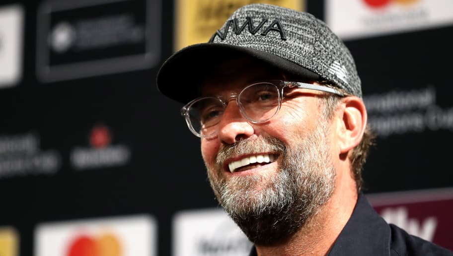 EAST RUTHERFORD, NJ - JULY 25:  Coach Jürgen Klopp during the press conference after the game between Liverpool and Manchester City at MetLife Stadium on July 25, 2018 in East Rutherford, New Jersey.  (Photo by Al Bello/International Champions Cup/Getty Images)
