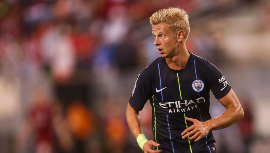EAST RUTHERFORD, NJ - JULY 25: Oleksandr Zinchenko of Manchester City during the International Champions Cup 2018 match between Manchester City and Liverpool at MetLife Stadium on July 25, 2018 in East Rutherford, New Jersey. (Photo by Robbie Jay Barratt - AMA/Getty Images)