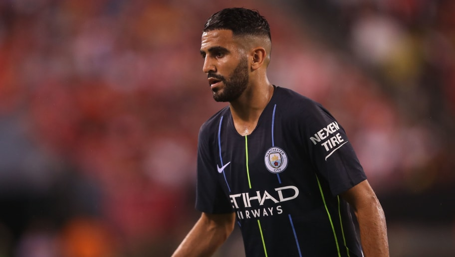 EAST RUTHERFORD, NJ - JULY 25: Riyad Mahrez of Manchester City during the International Champions Cup 2018 match between Manchester City and Liverpool at MetLife Stadium on July 25, 2018 in East Rutherford, New Jersey. (Photo by Robbie Jay Barratt - AMA/Getty Images)