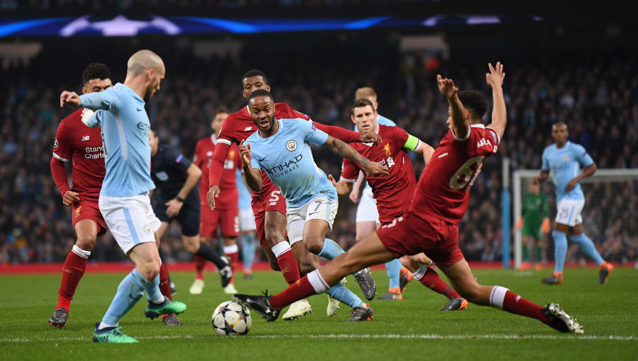 MANCHESTER, ENGLAND - APRIL 10:  Raheem Sterling of Manchester City breaks past Trent Alexander-Arnold of Liverpool during the Quarter Final Second Leg match between Manchester City and Liverpool at Etihad Stadium on April 10, 2018 in Manchester, England.  (Photo by Laurence Griffiths/Getty Images,)