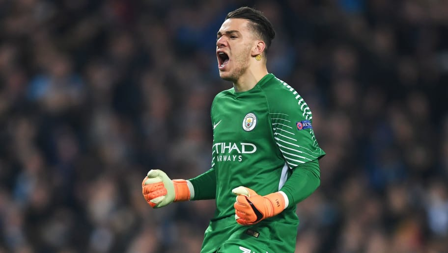 MANCHESTER, ENGLAND - APRIL 10:  Ederson of Manchester City celebrates after his team score a goal which is later dissalowed during the UEFA Champions League Quarter Final Second Leg match between Manchester City and Liverpool at Etihad Stadium on April 10, 2018 in Manchester, England.  (Photo by Shaun Botterill/Getty Images,)