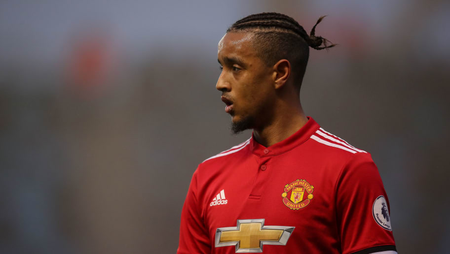 MANCHESTER, ENGLAND - APRIL 13: Cameron Borthwick-Jackson of Manchester United during the Premier League 2 match at Manchester City Football Academy on April 13, 2018 in Manchester, England. (Photo by Robbie Jay Barratt - AMA/Getty Images)