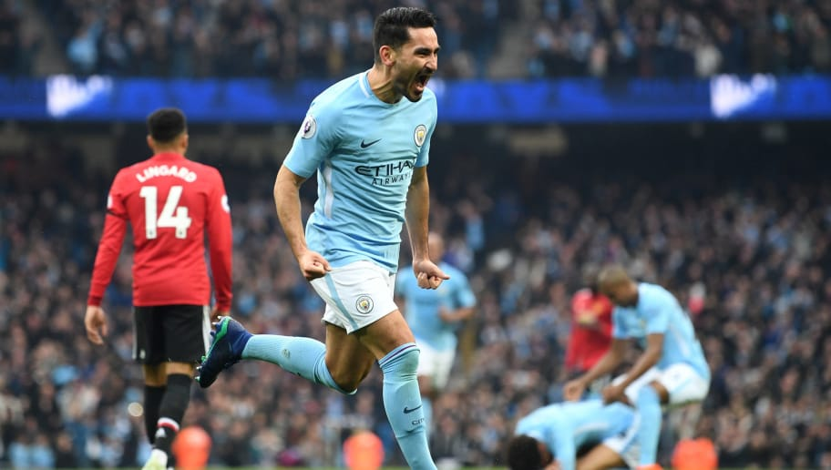 MANCHESTER, ENGLAND - APRIL 07:  Ilkay Gundogan of Manchester City celebrates scoring his side's second goal during the Premier League match between Manchester City and Manchester United at Etihad Stadium on April 7, 2018 in Manchester, England.  (Photo by Michael Regan/Getty Images)