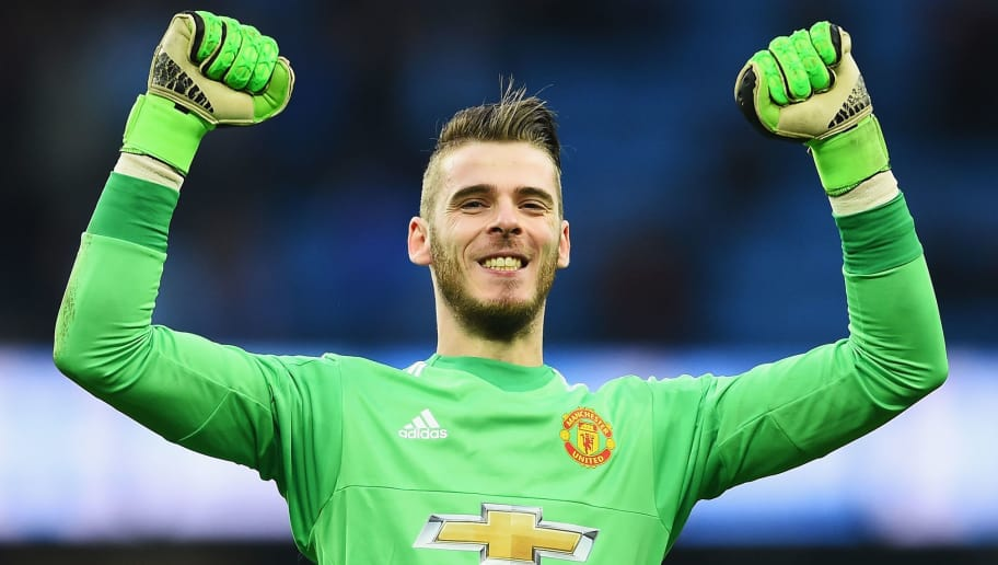 MANCHESTER, ENGLAND - MARCH 20:  David De Gea of Manchester United celebrates victory after the Barclays Premier League match between Manchester City and Manchester United at Etihad Stadium on March 20, 2016 in Manchester, United Kingdom.  (Photo by Laurence Griffiths/Getty Images)