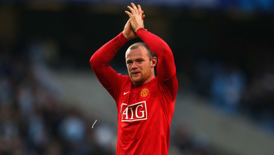 MANCHESTER, UNITED KINGDOM - NOVEMBER 30:  Wayne Rooney of Manchester United applauds the fans at the end of the Barclays Premier League match between Manchester City and Manchester United at The City of Manchester Stadium on November 30, 2008 in Manchester, England.  (Photo by Jamie McDonald/Getty Images)