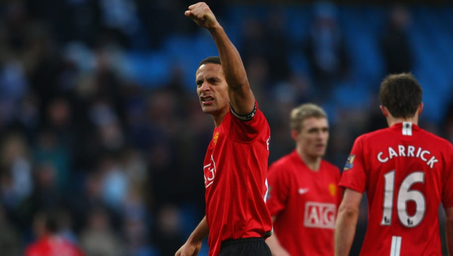 MANCHESTER, UNITED KINGDOM - NOVEMBER 30:  Rio Ferdinand of Manchester United celebrates his team's victory at the end of the Barclays Premier League match between Manchester City and Manchester United at The City of Manchester Stadium on November 30, 2008 in Manchester, England. (Photo by Jamie McDonald/Getty Images)