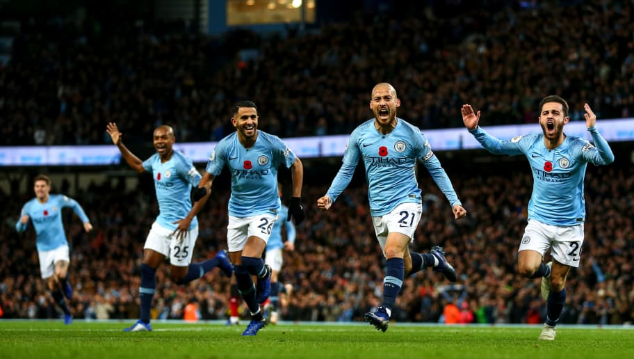 MANCHESTER, ENGLAND - NOVEMBER 11: David Silva of Manchester City celebrates after scoring a goal to make it 1-0 during the Premier League match between Manchester City and Manchester United at Etihad Stadium on November 11, 2018 in Manchester, United Kingdom. (Photo by Robbie Jay Barratt - AMA/Getty Images)