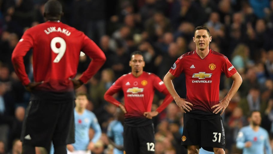 MANCHESTER, ENGLAND - NOVEMBER 11: Nemanja Matic of Manchester United looks dejected after Manchester City's third goal during the Premier League match between Manchester City and Manchester United at Etihad Stadium on November 11, 2018 in Manchester, United Kingdom.  (Photo by Mike Hewitt/Getty Images)