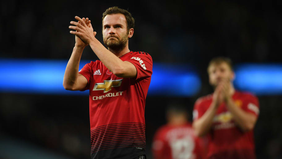 MANCHESTER, ENGLAND - NOVEMBER 11: Juan Mata of Manchester United acknowledges the fans after the Premier League match between Manchester City and Manchester United at Etihad Stadium on November 11, 2018 in Manchester, United Kingdom.  (Photo by Mike Hewitt/Getty Images)
