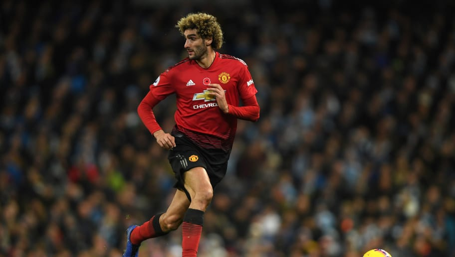 MANCHESTER, ENGLAND - NOVEMBER 11: Marouane Fellaini of Manchester United in action during the Premier League match between Manchester City and Manchester United at Etihad Stadium on November 11, 2018 in Manchester, United Kingdom. (Photo by Mike Hewitt/Getty Images)