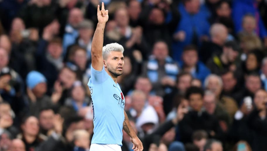 MANCHESTER, ENGLAND - NOVEMBER 11:  Sergio Aguero of Manchester City celebrates after scoring his team's second goal during the Premier League match between Manchester City and Manchester United at Etihad Stadium on November 11, 2018 in Manchester, United Kingdom.  (Photo by Laurence Griffiths/Getty Images)