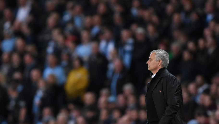 MANCHESTER, ENGLAND - NOVEMBER 11: Jose Mourinho of Manchester United looks on during the Premier League match between Manchester City and Manchester United at Etihad Stadium on November 11, 2018 in Manchester, United Kingdom. (Photo by Laurence Griffiths/Getty Images)
