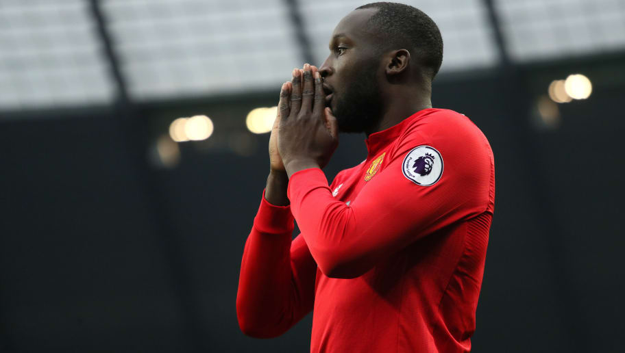 MANCHESTER, ENGLAND - APRIL 07:  Romelu Lukaku of Manchester United reacts to a missed chance during the Premier League match between Manchester City and Manchester United at Etihad Stadium on April 7, 2018 in Manchester, England. (Photo by Matthew Ashton - AMA/Getty Images)