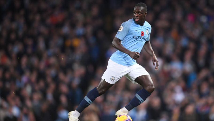 MANCHESTER, ENGLAND - NOVEMBER 11: Benjamin Mendy of Manchester City runs with the ball during the Premier League match between Manchester City and Manchester United at Etihad Stadium on November 11, 2018 in Manchester, United Kingdom. (Photo by Laurence Griffiths/Getty Images)
