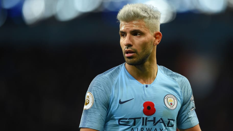 MANCHESTER, ENGLAND - NOVEMBER 11: Sergio Aguero of Manchester City looks on during the Premier League match between Manchester City and Manchester United at Etihad Stadium on November 11, 2018 in Manchester, United Kingdom. (Photo by Mike Hewitt/Getty Images)