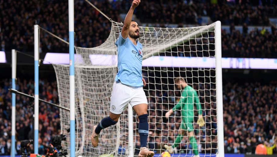 MANCHESTER, ENGLAND - NOVEMBER 11:  Ilkay Gundogan of Manchester City celebrates after scoring his team's third goal during the Premier League match between Manchester City and Manchester United at Etihad Stadium on November 11, 2018 in Manchester, United Kingdom.  (Photo by Laurence Griffiths/Getty Images)