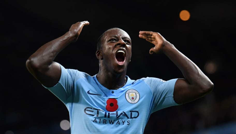 MANCHESTER, ENGLAND - NOVEMBER 11:  Benjamin Mendy of Manchester City celebrates victory after the Premier League match between Manchester City and Manchester United at Etihad Stadium on November 11, 2018 in Manchester, United Kingdom.  (Photo by Laurence Griffiths/Getty Images)