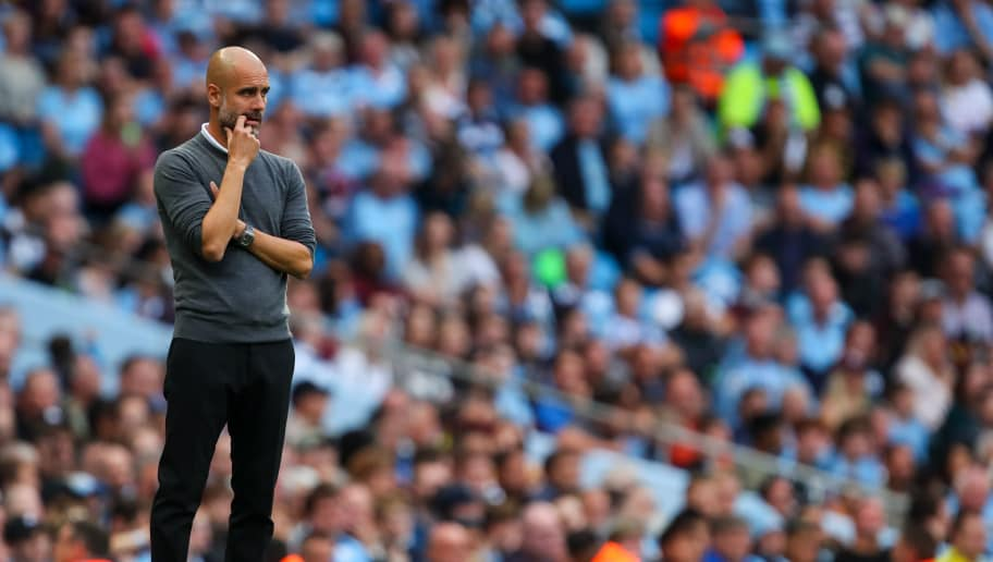 MANCHESTER, ENGLAND - SEPTEMBER 01: Pep Guardiola the head coach / manager of Manchester City during the Premier League match between Manchester City and Newcastle United at Etihad Stadium on September 1, 2018 in Manchester, United Kingdom. (Photo by Robbie Jay Barratt - AMA/Getty Images)