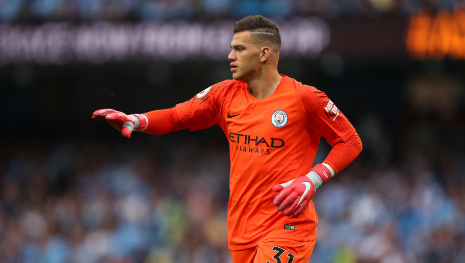 MANCHESTER, ENGLAND - SEPTEMBER 01: Ederson of Manchester City during the Premier League match between Manchester City and Newcastle United at Etihad Stadium on September 1, 2018 in Manchester, United Kingdom. (Photo by Robbie Jay Barratt - AMA/Getty Images)