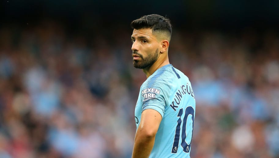 MANCHESTER, ENGLAND - SEPTEMBER 01:  Sergio Aguero of Manchester City looks on during the Premier League match between Manchester City and Newcastle United at Etihad Stadium on September 1, 2018 in Manchester, United Kingdom.  (Photo by Alex Livesey/Getty Images)