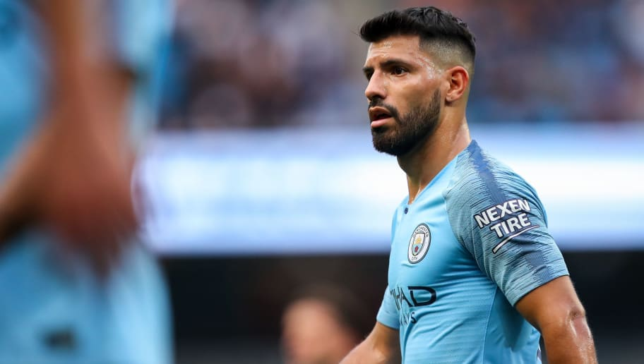 MANCHESTER, ENGLAND - SEPTEMBER 01: Sergio Aguero of Manchester City during the Premier League match between Manchester City and Newcastle United at Etihad Stadium on September 1, 2018 in Manchester, United Kingdom. (Photo by Robbie Jay Barratt - AMA/Getty Images)