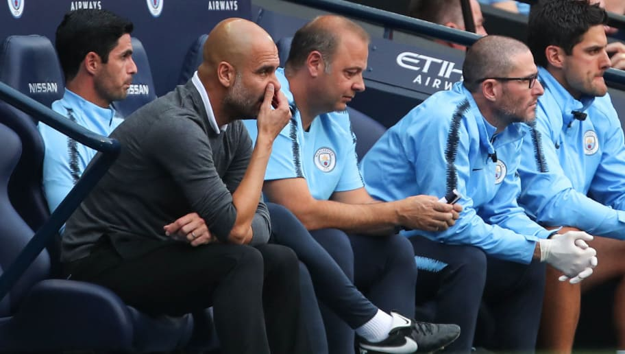 MANCHESTER, ENGLAND - SEPTEMBER 01: Pep Guardiola the head coach / manager of Manchester City reacts during the Premier League match between Manchester City and Newcastle United at Etihad Stadium on September 1, 2018 in Manchester, United Kingdom. (Photo by Robbie Jay Barratt - AMA/Getty Images)