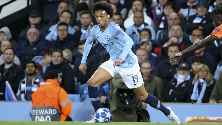 MANCHESTER, ENGLAND - SEPTEMBER 19: Leroy Sane of Manchester City during the Group F match of the UEFA Champions League between Manchester City and Olympique Lyonnais (OL) at Etihad Stadium on September 19, 2018 in Manchester, United Kingdom. (Photo by Jean Catuffe/Getty Images)