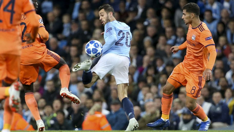 MANCHESTER, ENGLAND - SEPTEMBER 19: Bernardo Silva of Manchester City during the Group F match of the UEFA Champions League between Manchester City and Olympique Lyonnais (OL) at Etihad Stadium on September 19, 2018 in Manchester, United Kingdom. (Photo by Jean Catuffe/Getty Images)