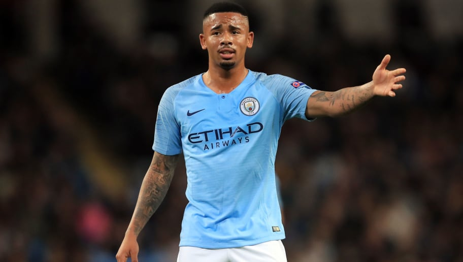 MANCHESTER, ENGLAND - SEPTEMBER 19:  Gabriel Jesus of Manchester City during the Group F match of the UEFA Champions League between Manchester City and Olympique Lyonnais at Etihad Stadium on September 19, 2018 in Manchester, United Kingdom. (Photo by Marc Atkins/Getty Images)