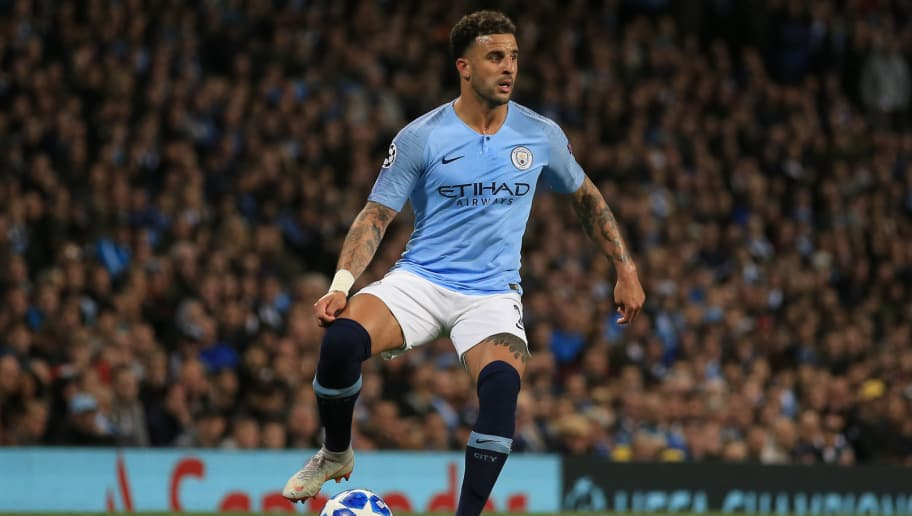 MANCHESTER, ENGLAND - SEPTEMBER 19:  Kyle Walker of Manchester City during the Group F match of the UEFA Champions League between Manchester City and Olympique Lyonnais at Etihad Stadium on September 19, 2018 in Manchester, United Kingdom. (Photo by Marc Atkins/Getty Images)